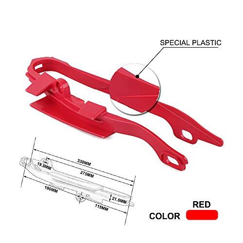 An Xin Protection de Chaîne Patin de Bras Oscillant de Moto en Caoutchouc Rouge pour Honda CR125R CR250R 00-07 CRF250R 04-09 CRF250X 04-13 CRF450R 02-08 CRF450X 05-09