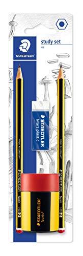 Staedtler set scuola study set, comprendente 2 matite noris hb, una gomma mars plastic e un temperamatite noris con serbatoio, 120 511bkd