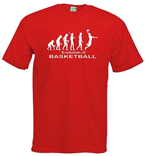 Evolution Basketball T-Shirt | Sport Verein Turnier Netz Trainingslager | Premiumshirt von Bimaxx® Rot