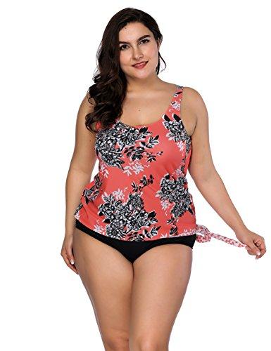 Tankini Set Two Piece Damen Mit Höschen Monokini Neckholder Badeanzug Swimwear Plus Size Strandbekleidung 3XL Orange