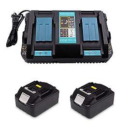 Replacement 4A DC18RD Double Port Chargeur avec 2x Batteries 18 V 5.0Ah pour Makita Tondeuse à gazon DLM380Z DLM431Z Taille-Haies DUH523Z Rabot DKP180Z Cisaille à Gazon DUM604ZX DUM604RFX Battery