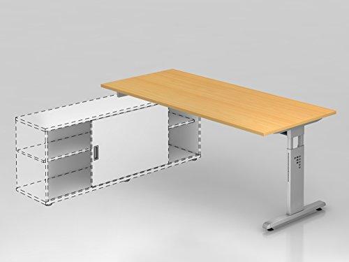 Hammerbacher Anbau-Schreibtisch OSE19 Buche/silber