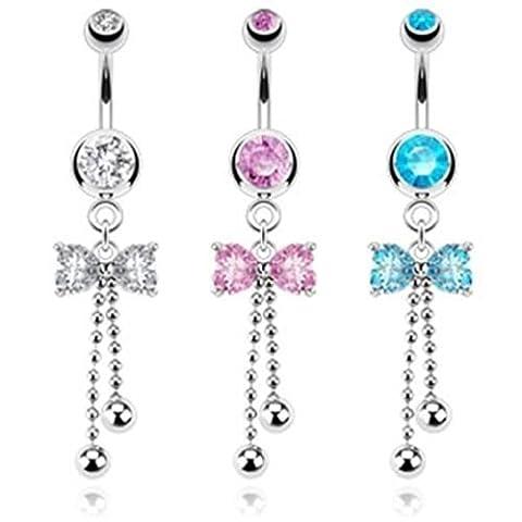 Paula & FRITZ Piercing Nombril Beads Nœud 3couleurs Lot de 3