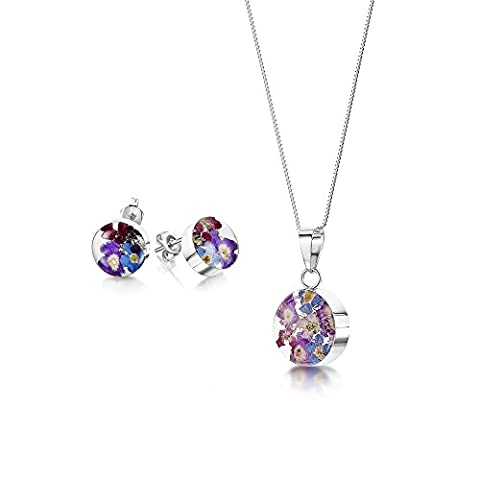 Sterling Silver Jewelry Set: Real Flower Pendant & Earrings - Forget-Me-Not purple & blue - Round - in