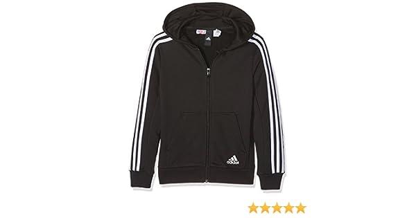 e9a80dde1aeb9 adidas - Essentials 3-Stripes - Veste à Capuche - Garçon - Noir - FR  7-8  ans (Taille Fabricant  128 cm)  Amazon.fr  Sports et Loisirs