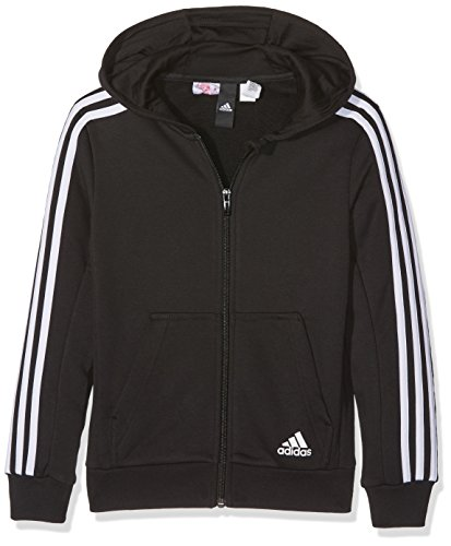 adidas Jungen Essentials 3-Stripes Full Zip Hoodie, Black, 152 (Zip Adidas-full Jersey)