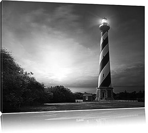 Cape Hatteras Leuchttum Kunst B&W, Format: 100x70 auf Leinwand, XXL riesige Bilder fertig gerahmt mit Keilrahmen, Kunstdruck auf Wandbild mit Rahmen, günstiger als Gemälde oder Ölbild, kein Poster oder Plakat