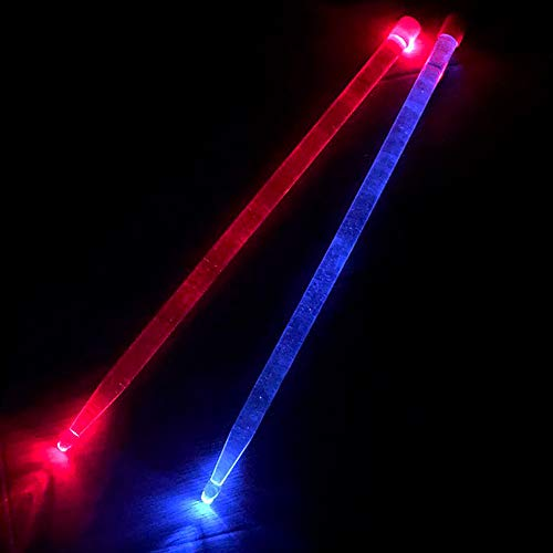 OriGlam 5A Acryl Drumsticks rot & blau Glow LED Drumsticks Lichter Drumsticks Licht LED Drumsticks Light Up Drumsticks Glow in the Dark Jazz Drumsticks (Rot & Blau)