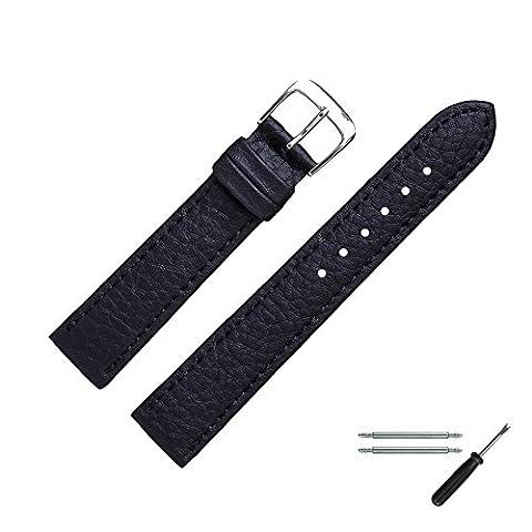 Uhrenarmband 18mm Vegan schwarz Prägung - inkl. Federstege & Werkzeug - Narbung Bandober- und Unterseite, Rindsleder nachempfunden - Leder-look, ohne tierische Bestandteile - Uhrband MADE IN GERMANY