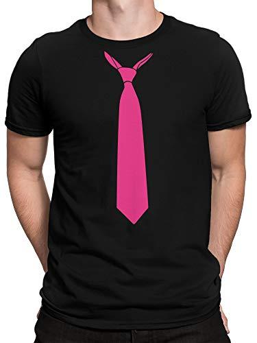 vanVerden Herren T-Shirt - Falsche Krawatte Schlips Fake Tie Kostüm JGA Abschluss Shirt, Größe:4XL, (Black Tie Kostüme)