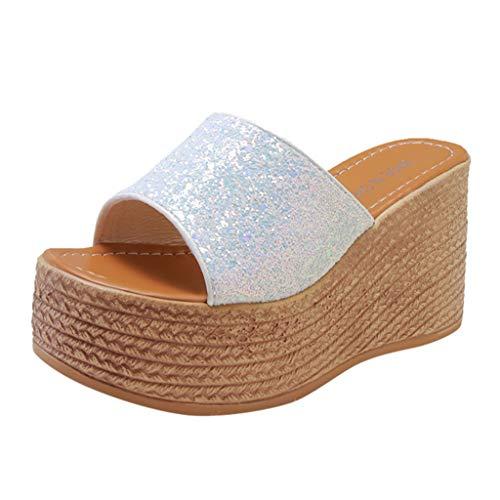 Oksea Damen Hausschuhe Glitzer Pantoletten Sandaletten Damen Sandalen Geschlossene Sandalen Frauen Wedges Schuhe Slipper Bling und Mode Lady Casual Schuhe -