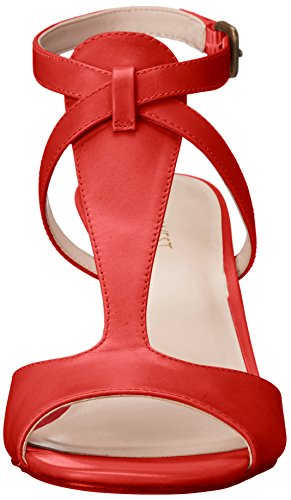 Nine West Womens Deara Leather Dress Sandal Red/Orange