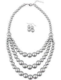 85f52383be1e Collar y pendientes bisutería conjunto de boda Cadena de oro de plata Collar  de perlas en