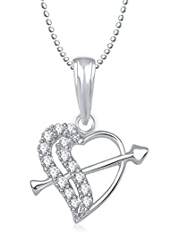 Valentine Gifts Meenaz Heart Pendant With Chain Silver Plated For Girls And Women PS172