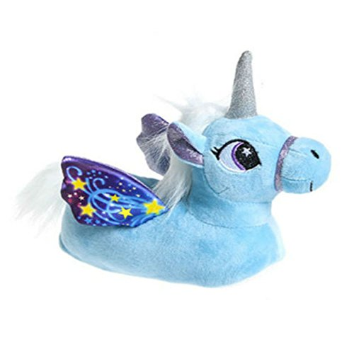 Girls Novelty 3D Character Plush Magical Winged Unicorn Slippers