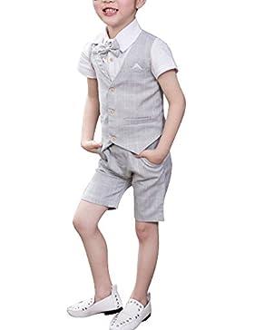 Quge Traje - para Niño Boda Niño Traje De Página, Chaleco + Camisas + Pantalones Cortos 3 Piezas