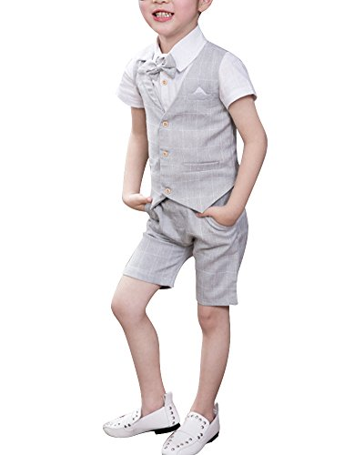 Quge Completo Bambino Ragazzo Vestiti Gilet + Pantaloncini + Camicia Compleanno Vestito 3 Pezzi Grigio Chiaro XXL