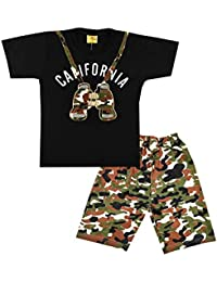 Kid's Care Cotton Boy's Sleeveless T-Shirt and Shorts Set- Military Print(1451A_3-6 Months_)
