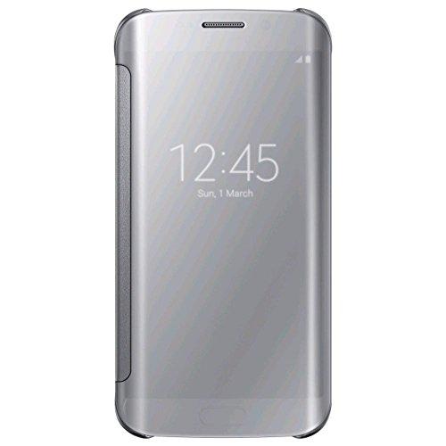 Samsung Handyhülle Schutzhülle Protective Case Cover mit Clear View Klarsicht Cover für Galaxy S6, silber