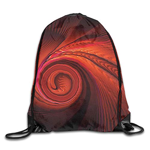 EELKKO Drawstring Backpack Gym Bags Storage Backpack, Spooky Spiral Form In Darkness with Digital Effects Perplexed Dreamy Place Image,Deluxe Bundle Backpack Outdoor Sports Portable Daypack