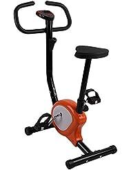 OUTAD Fitness Bicicletta Cyclette, Indoor regolabile Aufrechte Esercizio Bike, pieghevole Fitness Bike, facile da montare e smontare, Display LCD, Arancione e bianco