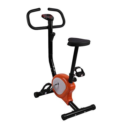 OUTAD Fitness Fahrrad Heimtrainer, Indoor Einstellbare Aufrechte Übung Bike, Einfach zu Montieren und Zu Zerlegen, LCD Display (Orange)