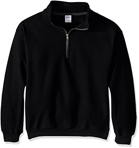 Quarter-Zip Cadet Collar Sweatshirt, Black, Large ()