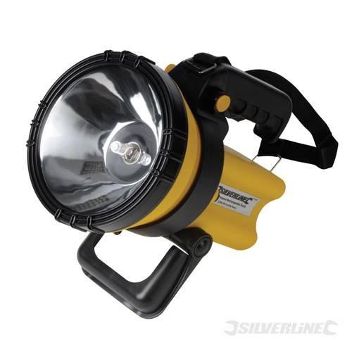 Silverl Lampe-torche rechargeable avec batterie intégrée rechargeable 6v/4AH Poignée 2 positions pour permettre 2 modes de prise en main - Support pour une utilisation mains libres Boîtier résistant aux impacts avec sangle amovible Ampoule halogène et lentille en verre trempé Chargeur de véhicule et sur secteur inclus