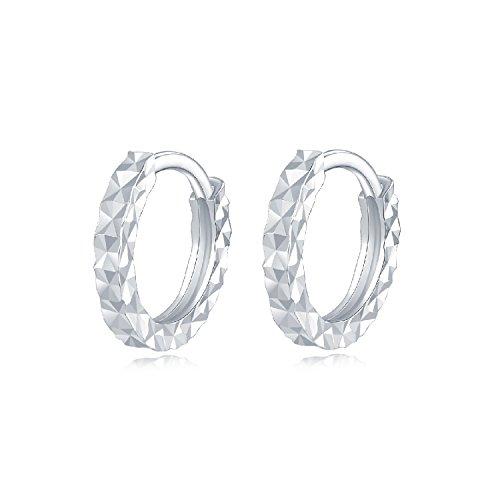 14ct 585 Oro Bianco Piccoli Taglio Diamante Rotond...