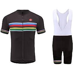 Uglyfrog Ciclismo Maillot Hombres Jersey y Pantalones Cortos bib Mangas Cortas de Ciclismo Ropa Maillot Transpirable para Deportes al aire libre Ciclo Bicicleta DTZHB02