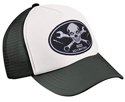 HELLMOTORS Skull & Wrench Trucker Cap V8 Hotrod Biker Schwarz/Weiß