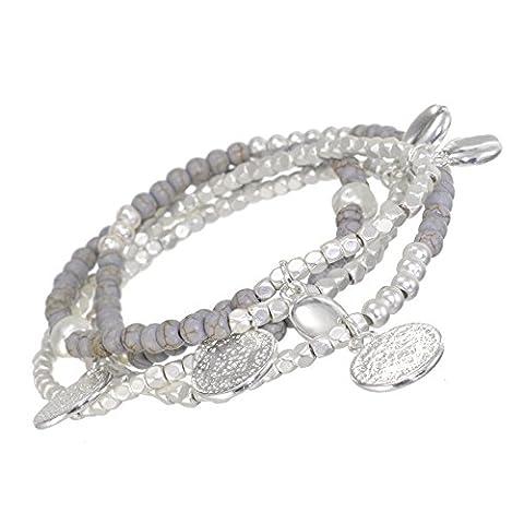 Lovely Fashion Schmuck: Silber und Grau Ton Perlen Charm Wrap-around-Armband (oder Single Strand Halskette.) (R42)