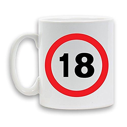 18th Tee (18Your Birthday ab Speed Schild bedruckter Keramik Tasse 313ml schwere Neuheit Geschenk Weiß Kaffee Tee Getränk Container)