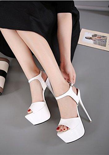 GS~LY Regali Festa della mamma L Europa e gli Stati Uniti ad alta sandali con tacco White
