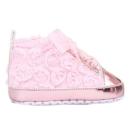 Silvercell Baby Schuhe Princess Lederschuhe Kleinkinder Blumen Flache Schuhe Pink