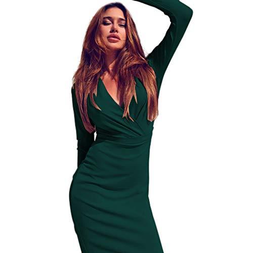 LHWY Damen Kleider Elegant Sexy Frauen Tiefem V-Ausschnitt Kostüm Wrap Geraffte Langarm Nachtclub Miniklei Slim Fit Knielanges Hochzeitskleid (S, ()