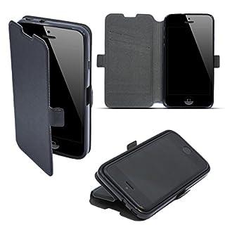 Moozy Hülle Flip Case für iPhone 5s SE, Schwarz - Dünne Glitzer Handy Klapphülle Shine Book mit Stand