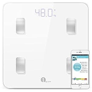 1byone Smart Personenwaage Digitale Körperfettwaage Gewichtswaage mit Bluetooth APP, Inklusive Vermessung von Körpergewicht, Körperfett, Körperwasser und Muskemaße
