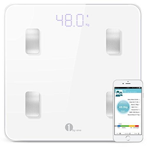 1byone Bilancia Diagnostica Digitale Wireless per IOS e Android, Gestione Peso, Grasso, Liquidi, Massa Muscolare, BMI, BMR, Massa Ossea e Grasso Addominale, Bianca