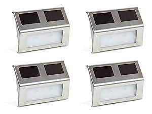 Kenley Luci Solari Lampada ad Energia da Esterno LED - per Giardini Mura Patio Pavimento - in Acciaio Inossidabile - Set 4 Pezzi