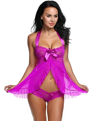 Einteiler Badeanzug,Clisto Sexy Schulterfrei stricken Häkeln Hohl Strandkleider Neckholder Bikini Baby Doll Mit String-bikini