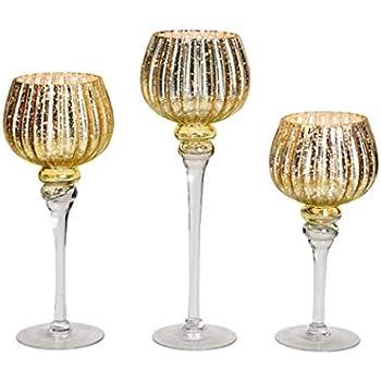 Gold - Rillen Look 40 x /Ø13cm meindekoartikel 3er Windlicht Set Kelch mit Fu/ß aus Glas H/öhe 30 35