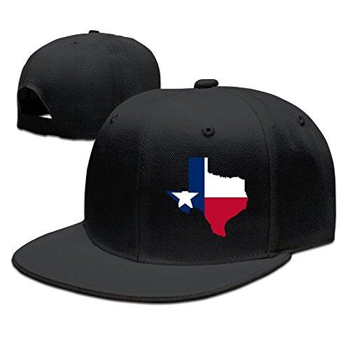 fboylovefor Map of Texas Flag Design Solid Flat Bill Hip Hop Snapback Baseball Cap Unisex Sunbonnet Hat.