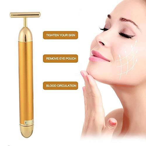 24k Gold Vibration Facial Schlankheitskur Beauty Bar Pulse Firming Facial Roller Massager Lift Skin Tightening Wrinkle Stick -