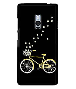 PrintVisa Designer Back Case Cover for OnePlus 2 :: OnePlus Two :: One Plus 2 (Cycle With Stars In Cool Black)