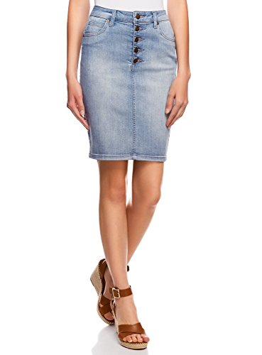 oodji Collection Damen Jeansrock mit Knopfverschluss, Blau, DE 34 / EU 36 / XS (Klassischen Look-jeans-rock)