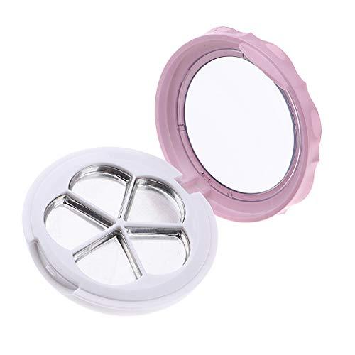B Baosity Conteneur de Boîte Rond Réutilisable Mini Portable Boîte Vide pour Baume à Lèvre pour Femme - Rose blanc