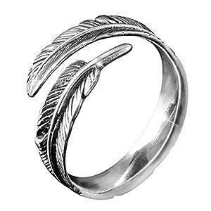 MATERIA Schmuck 925 Silber Ring Federn antik – Silber Damen Ring Feder in Gr. 52-60 / Größe verstellbar #SR-23