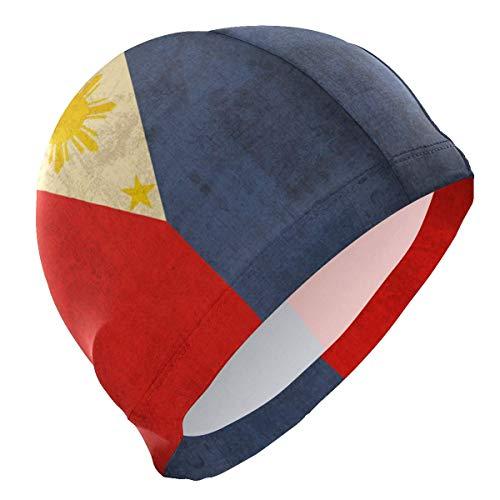 SFHJK Swim Caps Badekappe Retro Philippine Flag Vintage Lycra Swim Cap Swimming for Women Men
