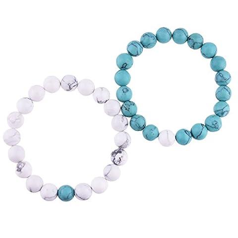 Belons Couple Bracelet extensible 10mm bleu et blanc Turquoise Energy pierres Perles Bracelets Distance Ensemble bracelet, 2pcs
